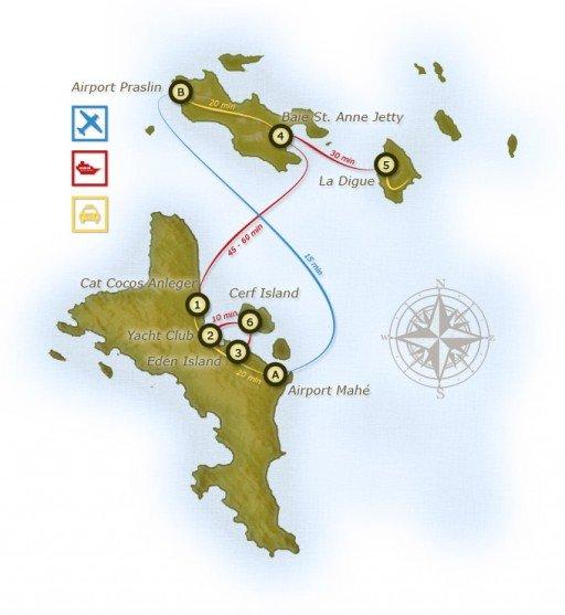 Seychelles mappa collegamenti in barca
