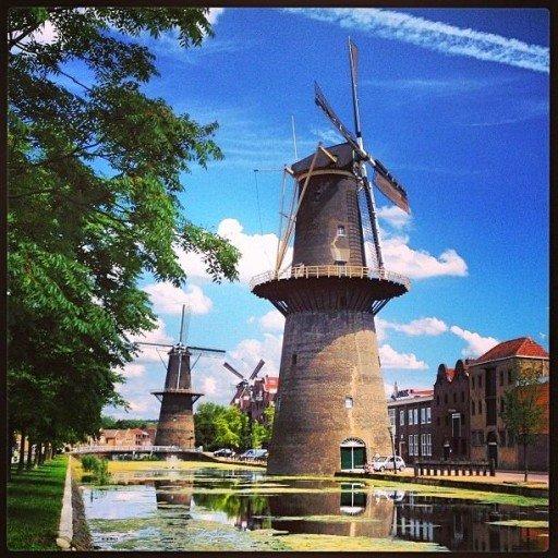 Schiedam i mulini a vento Olanda