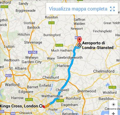 mappa da Stansted a Londra
