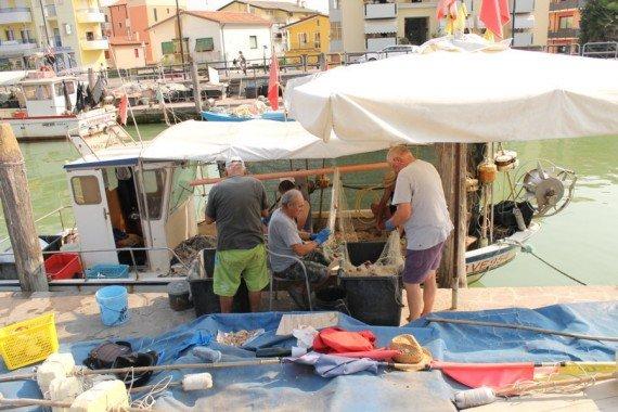 pescatori al porto di caorle, venezia