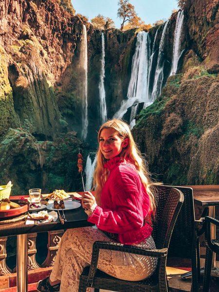pranzo vista cascate marocco